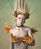 Gold mermaid. Portrait of a gold mermaid with shell Stock Images