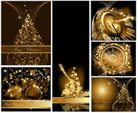 Gold Merry Christmas background. Collections vector illustration