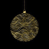 Gold Merry Christmas bauble ornament decoration Royalty Free Stock Photo