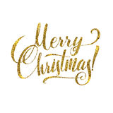 Gold Merry Christmas Card. Golden Shiny Glitter. Calligraphy Greeting Poster Tamplate. Isolated White Background.  Stock Photos