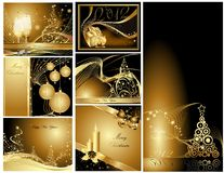 Gold Merry Christmas and Happy New Year background Royalty Free Stock Images