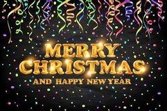 Gold Merry Christmas and Happy New Year black background with decoration on color light confetti. Vector illustration. Xmas card. Art royalty free illustration