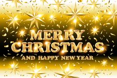 Gold Merry Christmas and Happy New Year black shine background with decoration on golden light stars confetti. Vector illustration Stock Photos