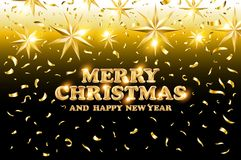 Gold Merry Christmas and Happy New Year black shine background with decoration on golden light stars confetti. Vector illustration Stock Image