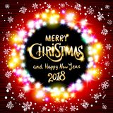 Gold Merry Christmas and Happy New Year black shine background with decoration on golden light stars confetti. Vector illustration Stock Photo