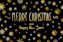 Gold Merry Christmas and happy new year Card. Golden Snowflakes and Stars Shiny Glitter. Calligraphy Greeting Poster Template. Iso. Gold Merry Christmas and Royalty Free Stock Images