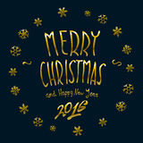 Gold Merry Christmas and New Year 2016 lettering collection. Vector illustration Royalty Free Stock Photo