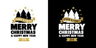 Gold glitter Merry Christmas quote greeting card Royalty Free Stock Photography