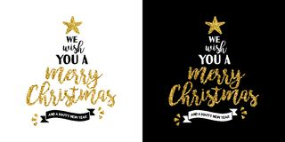 Christmas gold glitter hand drawn holiday quote. Gold merry Christmas santa hat text quote, calligraphy lettering design for holiday season made of golden Stock Photography