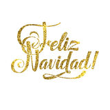 Gold Merry Christmas Spanish Card. Golden Shiny Glitter. Calligraphy Greeting Poster Tamplate. Isolated White Background Royalty Free Stock Photos