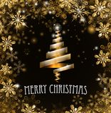 Gold Merry Christmas Tree Snowflakes Background. Merry Christmas snowflakes golden snow and ice crystals abstract background with stylised tree Royalty Free Stock Image