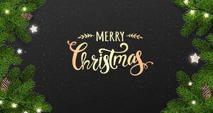 Gold Merry Christmas Typographical on black background with tree branches, gift boxes, stars, pine cones. Xmas and New Year theme. Vector Illustration stock illustration