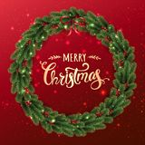 Gold Merry Christmas Typographical on red background with Christmas wreath of tree branches, berries, lights, bokeh. stock illustration