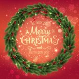 Gold Merry Christmas Typographical on red background with Christmas wreath of tree branches, berries. Lights, bokeh. Xmas theme. Vector Illustration royalty free illustration