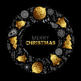 Gold Merry Christmas wreath decoration card design. Merry Christmas greeting card design with gold decoration and hand drawn elements as holiday wreath. EPS10 Stock Images