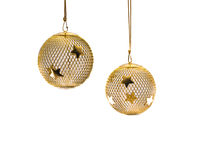 Gold Mesh Christmas Ornament 1. A hollow gold wire mesh Christmas ornament with stars Stock Photography