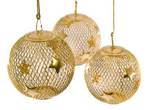 Gold Mesh Christmas Ornament 3. A hollow gold wire mesh Christmas ornament with stars Royalty Free Stock Photo