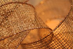 Gold Mesh Ribbon Royalty Free Stock Photography