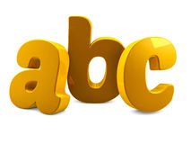 Gold metal abc alphabet letters 3d render. Illustration Stock Images