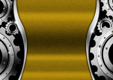 Gold and Metal Background with Gears Stock Images