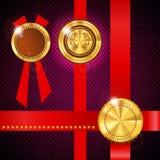 Gold metal badge Royalty Free Stock Photos