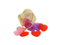 Gold Metal basket of hearts Stock Images