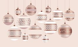 Gold metal bauble ornament vector illustration. Stock Image