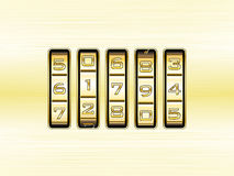 Gold metal combination lock - number code Stock Photos