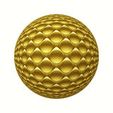 Gold metal 3D sphere with circles pattern isolated on white. Digitally generated geometric golden metal ball with 3D glass hemispheres pattern isolated on white Royalty Free Stock Images