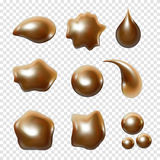 Gold metal droplet set realistic  on white background Stock Image
