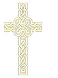 Gold metal effect cross over white background Stock Image
