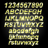 Gold Metal Font. Letters and numbers royalty free illustration