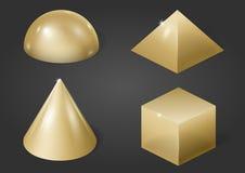 Gold metal forms Stock Photos
