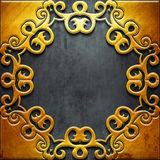 Gold metal frame on black metal Royalty Free Stock Images