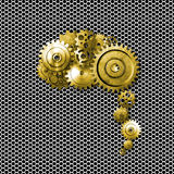 Gold metal gear on metallic mesh background look like a human br Stock Images