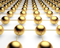 Gold metal and glass spheres geometry background. Abstract 3d render Stock Photo