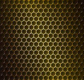 Gold metal grid. Vector illustration of gold metal grid with rounded honeycombs Royalty Free Stock Images