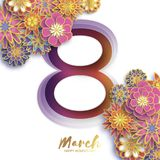 Gold Metal Happy Women s Day. 8 March. Trendy Mother s Day. Paper cut Floral Greeting card. Origami flowers. Spring. Blossom. Seasonal holiday. Eight number Royalty Free Stock Photography