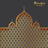Gold metal Mosque. Origami Ramadan Kareem Greeting card. With arabic arabesque pattern. Holy month of muslim. Space for text. Vector illustration Royalty Free Stock Image
