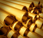 Gold metal pipes. Stacked on top of each other representing industrial raw material commodities industry and business vector illustration