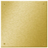 Gold Metal Plaque with Screws Stock Photos