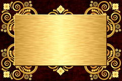 Gold metal plate. On grunge leather background Stock Photos