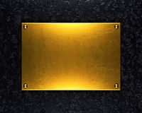Gold metal plate background Stock Images
