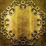 Gold metal plate with classic ornament Stock Image