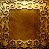 Gold metal plate with classic ornament .Vintage collection Royalty Free Stock Photo