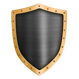 Gold metal shield isolated 3d illustration Royalty Free Stock Photos