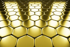 Gold metal surface of golden hexagons perspective view Stock Photography
