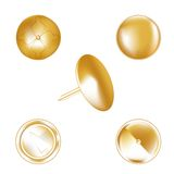 Gold metal thumbtack Royalty Free Stock Photography