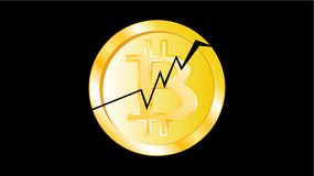 Gold metal yellow cracked coin bitcoin. Obverse of a broken bitcoin coin on a black background. The collapse of the crypto currenc. Y. The fall of bitcoin Royalty Free Stock Images