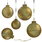 Gold metalic christmas balls Stock Photography